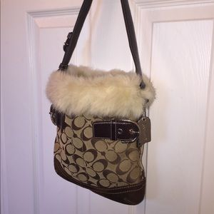 Coach Brown Signature Fur Trim Bag 10""